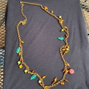 Vintage Brass-tone Necklace with Multi-Color Glass